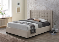 STANFORD Sand/Beige Linen Upholstery Platform Bed (No Boxspring Required)