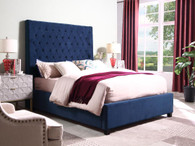 ASTER Glamorous Tufted Bed in Navy Blue