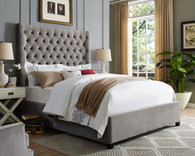 ASTER  Glamorous Tufted Bed in GRAY