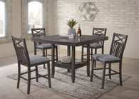 MEGHAN COUNTER HEIGHT TABLE GREY 5 PC SET-2710GY-T