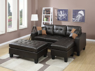 ALL-IN-ONE ESPRESSO SECTIONAL SET WITH OTTOMAN-F6927