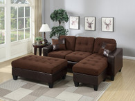 ALL-IN-ONE CHOCOLATE SECTIONAL SET WITH OTTOMAN-F6928