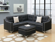 4PCS BLACK SECTIONAL SET WITH OTTOMAN-F6997