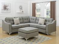 4PCS LIGHT GREY SECTIONAL SET WITH OTTOMAN-F6998
