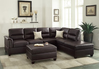 3PCS ESPRESSO SECTIONAL SET WITH OTTOMAN-F7609