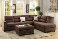 3PCS CHOCOLATE SECTIONAL SOFA SET WITH OTTOMAN-F7613