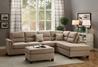 3PCS SAND SECTIONAL SOFA SET WITH OTTOMAN-F7614