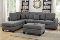 2PCS BLUE GREY SECTIONAL SOFA-F6511