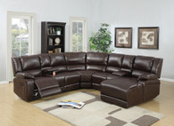 5PCS RECLINING SECTIONAL BROWN-F6746