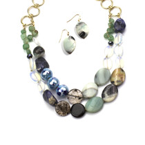 On the Rocks Genuine Stone Necklace and Earring Set
