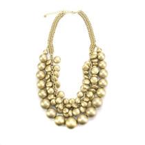 Cassandra Gold Bead Statement Necklace