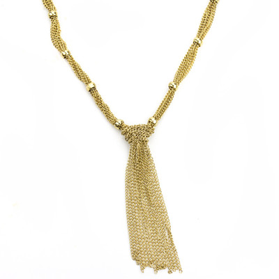 Mira Gold Tassel Necklace