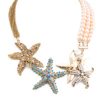 Mermaid Vibes Pearl and Chain Starfish Statement Necklace