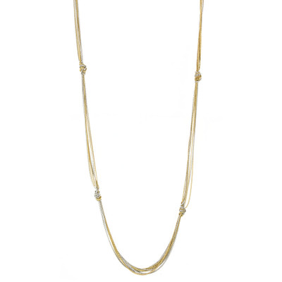 Two Toned Gold And Silver Knotted Chain Layering Necklace