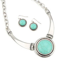 Turquoise Pendant Statement Necklace and Earrings Set
