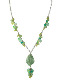 South Beach Genuine Milky Green Quartz with Glass Bead Necklace