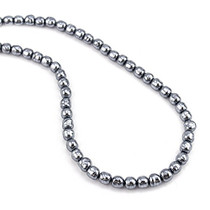 """Grey Glass Pearl Necklace 24"""" Natural Looking Pearl Strand"""