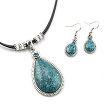 Genuine Turquoise Pendant and Earring Set