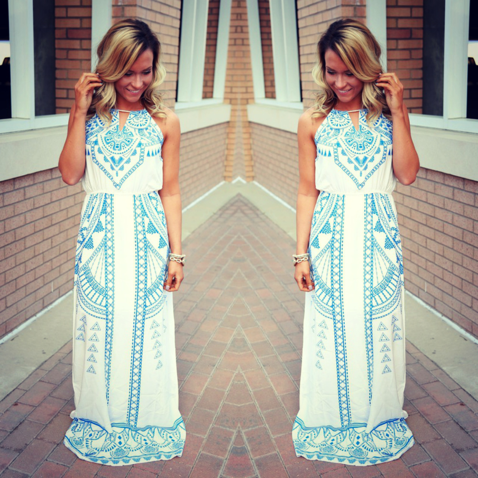 Full Of Life Maxi -Royal Blue and white maxi dress