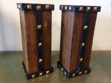 Wood Pillar Studded Candleholders