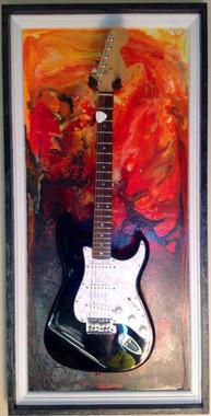 Guitar Display Case, Shadow box, Guitar mount, Guitar wall hanger, Guitar holder, Guitar accessories, Music accessories, Guitar frame, Guitar decor, JeLis Decor, DisplayMyGuitar.com  Lake of fire, Lake of fire G-Frame
