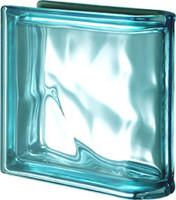 Pegasus Metalized Aquamarine End Linear Wavy Glass Block