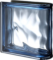 Pegasus Metalized Blue End Linear Wavy Glass Block