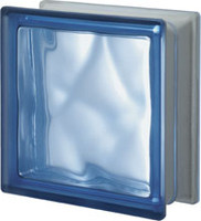 Pegasus Blue Q19 One Sided Satin Wavy Glass Block