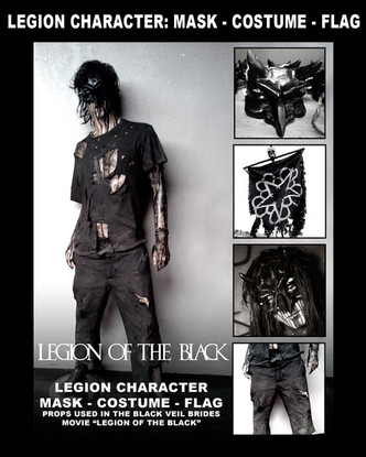 """1 LEGION MASK AND COSTUME USED IN THE MOVIE """"LEGION OF THE BLACK"""" FEATURING BLACK VEIL BRIDES. 1 LEGION FLAG. PROP MADE AND USED IN """"LEGION OF THE BLACK""""  SIGNED BY ARTIST RICHARD VILLA III AND ANDY BIERSACK  VALUED OVER $2,5000"""
