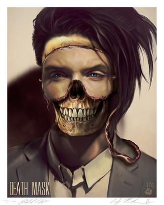 """"""" DEATH MASK"""" LARGE SIZE POSTER 16″ X 20″ HI- RES LIMITED EDITION GICLEE ART PRINTS ON ART PAPER SIGNED & NUMBERED 1-100. ART COLLABORATION BY ANDY BIERSACK & RICHARD VILLA III"""