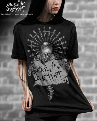 "EXHIBIT A GALLERY PRESENTS ""STARVING ARTIST"" T-SHIRTS DESIGNED BY ANDY BIERSACK AND RICHARD VILLA III."
