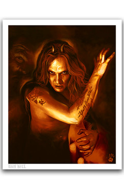 "SEBASTIAN BACH - GIVE 'EM HELL BY RICHARD VILLA III ""16 X ""20 GICLEE ART PRINT"