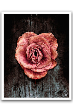 "THE BLEEDING ROSE - RICHARD VILLA III COLOR ""16 X ""20 GICLEE ART PRINT -  BLACK"