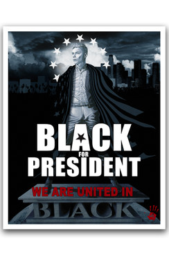"BLACK FOR PRESIDENT - RICHARD VILLA III COLOR ""16 X ""20 GICLEE ART PRINT -  BLACK"
