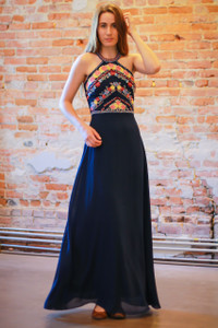 Navy embroidered column dress front view.