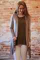 Simply Basics Mocha Handkerchief Cardigan with Hood front view.