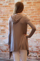Simply Basics Mocha Handkerchief Cardigan with Hood back view.
