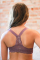 Delicately Stunning Y-Back Lace Bralette in Dusty Purple back view.