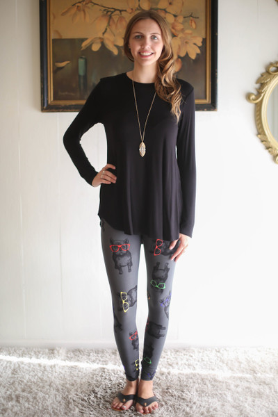 Simply Basics Black Long Sleeve Top full body front view.