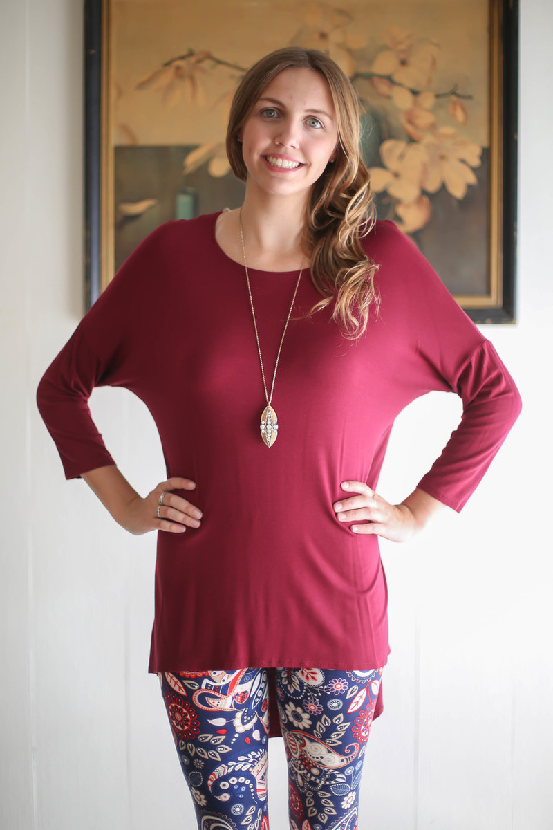 Simply Basics Wine Slouchy 3/4 Sleeve Top front view.