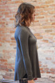 Simply Basics Charcoal Long Sleeve Top side view.