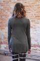 Simply Basics Charcoal Long Sleeve Top back view.