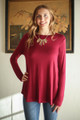 Simply Basics Wine Long Sleeve Top front view.