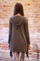 Simply Basics Charcoal Handkerchief Cardigan with Hood back view.