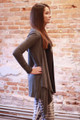 Simply Basics Charcoal Handkerchief Cardigan with Hood side view.