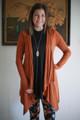 Simply Basics Hazelnut Handkerchief Cardigan with Hood front view.