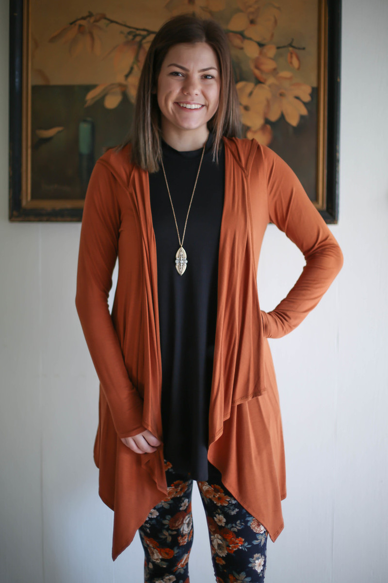 Simply Basics Hazelnut Handkerchief Cardigan with Hood front view.