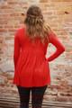 Simply Basics Red Long Sleeve Ruffle Tunic back view.