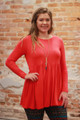 Simply Basics Red Long Sleeve Ruffle Tunic front view.