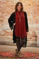 Crochet Goddess Black Crochet Open Front Cardigan full body front view.